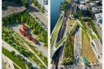 Seattle - Aerial photos of ASLA Award winning Olympic Sculpture Park for Charles Anderson Landscape Architecture, Seattle, WA