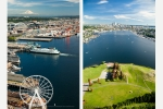 Seattle - Aerial photos of Seattle downtown waterfront and Gasworks Park & Lake Union