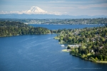 Seattle - Aerial photography of Lakewood Marina, Lake Washington shoreline, and Mt. Rainier beyond, Seattle