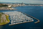 Seattle - Aerial photography of Elliott Bay Marina and Seattle skyline