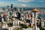 Seattle - Aerial photography of Space Needle, Seattle skyline, & Mt. Rainier